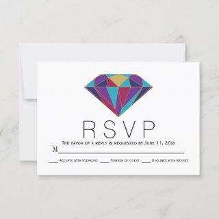 Abstract geometric diamond jewel wedding RSVP card