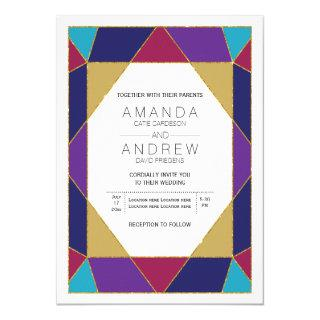 Abstract geometric jewel gemstone modern wedding invitation