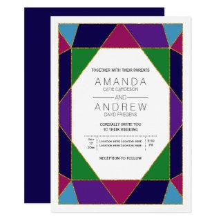 Abstract geometric jewel gemstone wedding invitation