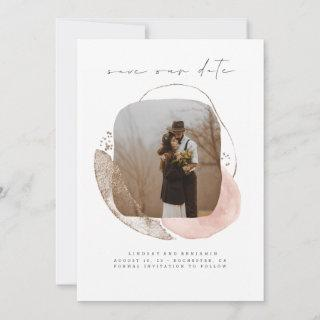 Abstract Geometric Modern Save The Date Photo