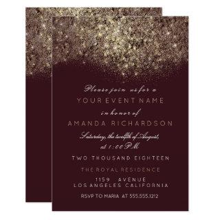 Abstract Gold Sparkly Glitter Burgundy Typography Invitation