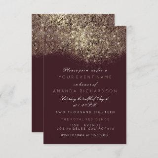 Abstract Gold Sparkly Glitter Burgundy Typography Invitations