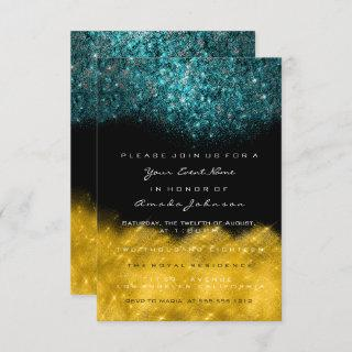 Abstract Gold Teal Ocean Glitter Black White Event Invitation