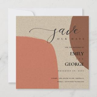 ABSTRACT KRAFT TERRACOTTA RED SAVE THE DATE CARD