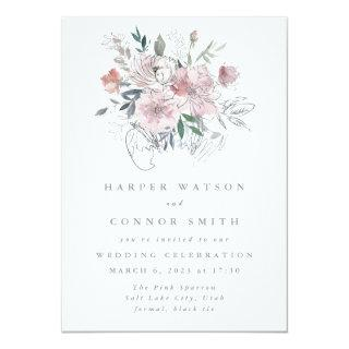 Abstract Modern Summer Garden Florals Wedding Invitation