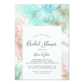 Abstract Summer Watercolor Bridal Shower Invitation