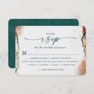 Abstract Teal Copper Wedding Meal Choice RSVP Card