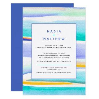 Abstract tropical tide lines blue yellow wedding invitation