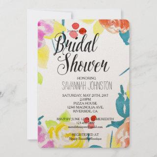 Abstract Watercolor Floral bridal shower Invitation