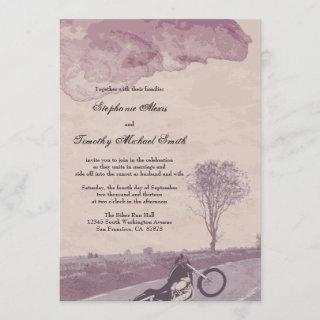 Across the road motorcycle wedding invitation