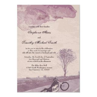 Across the road motorcycle wedding Invitations