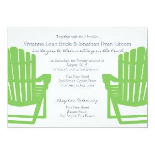 Adirondack Chairs Lime and Navy Beach Wedding Invitations