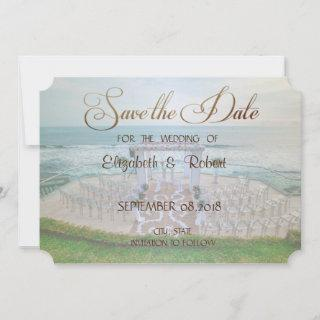 Adorable Beach Wedding,Floral Save The Date