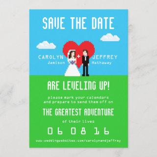 Adorably Nerdy 8-Bit Bride & Groom Save the Dates Save The Date