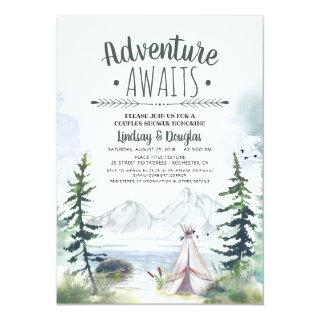 Adventure Awaits Mountains Camping Couples Shower Invitations