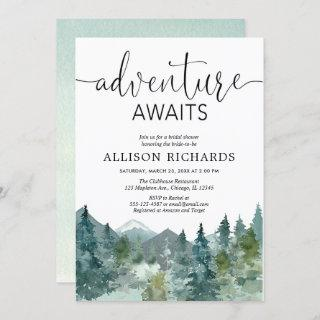 Adventure awaits rustic woodland bridal shower Invitations