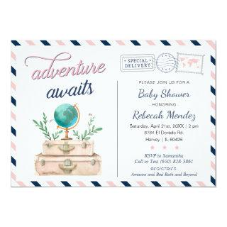 Adventure Awaits Travel Baby Shower Navy Pink Invitation