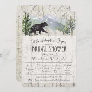 Adventure Begins Bear Bridal Shower Invitation