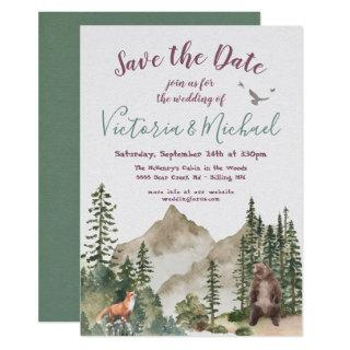 Adventure Woodland mountain forest Save the Date Invitation