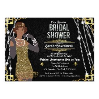 African American Flapper Bridal Shower Invitations