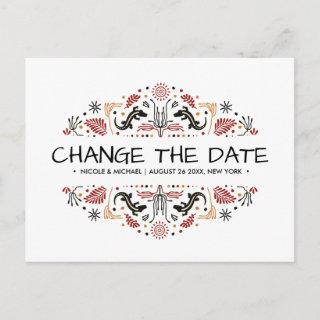 Africana | Ankara Kente Lizard change of plans Announcement Postcard