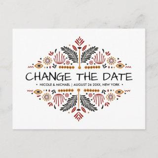 Africana | Ankara Kente Wedding change of plans Announcement Postcard