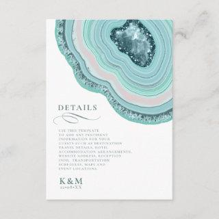 Agate Geode Glitter Wedding Details Teal ID647 Enclosure Card