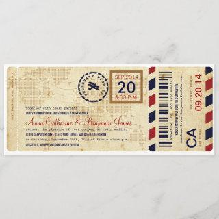 Airline Boarding Pass Ticket Wedding Invitation
