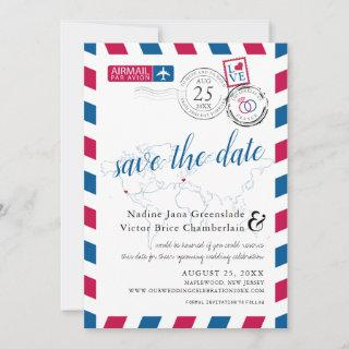Airmail Heart Los Angeles and France Save the Date