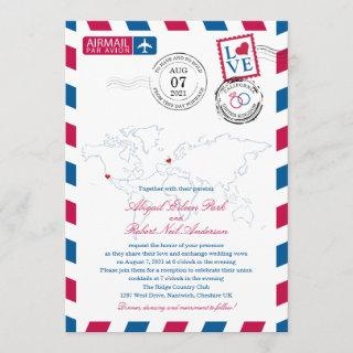 Airmail Heart UK and California USA Wedding Invitations