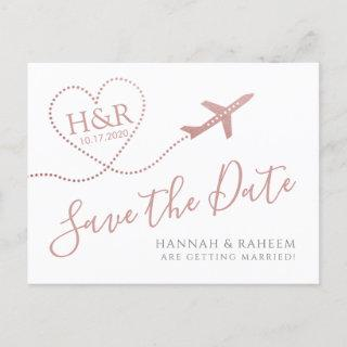 Airplane Heart Pink Destination Wedding Save Date Announcement Postcard