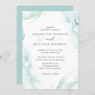 Airy Blue Turquoise Watercolor Wedding Invitation