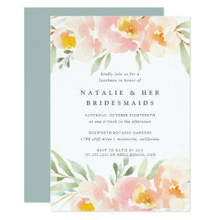 Airy Floral Bridesmaids Luncheon Invitation