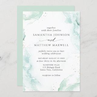 Airy Green and Blue Watercolor Wedding Invitation