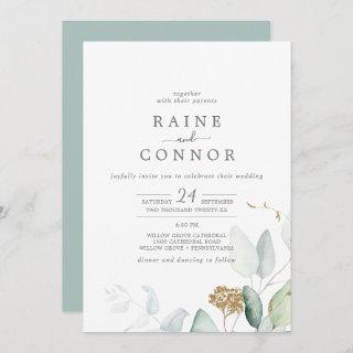 Airy Greenery and Gold Leaf All In One Wedding Invitations