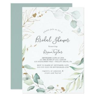Airy Greenery and Gold Leaf Bridal Shower Invitation