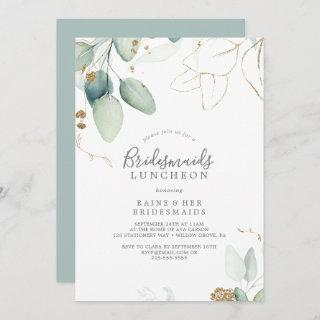 Airy Greenery and Gold Leaf Bridesmaids Luncheon Invitations