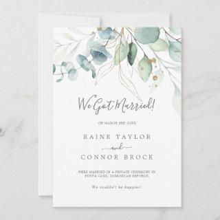 Airy Greenery and Gold Leaf Elopement Announcement