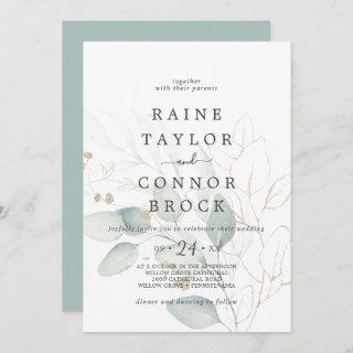 Airy Greenery and Gold Leaf Faded Wedding Invitations