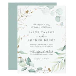 Airy Greenery and Gold Leaf Formal Wedding Invitation