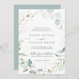 Airy Greenery and Gold Leaf Formal Wedding Invitations
