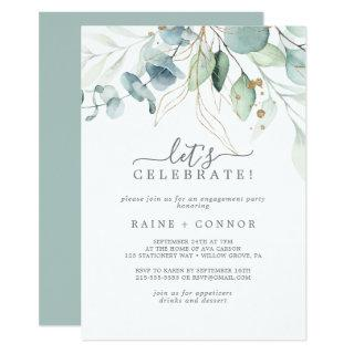 Airy Greenery and Gold Leaf Let's Celebrate Invitations