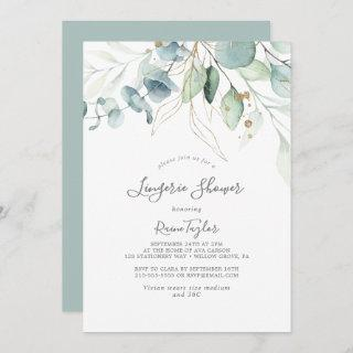 Airy Greenery and Gold Leaf Lingerie Shower Invitations