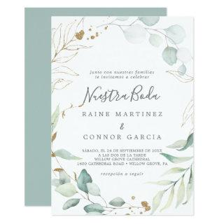 Airy Greenery and Gold Leaf Spanish Nuestra Boda Invitations