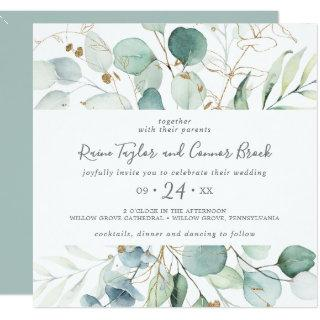Airy Greenery and Gold Leaf Square Wedding Invitations