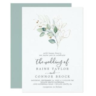 Airy Greenery and Gold Leaf The Wedding Of Invitations