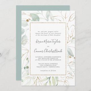 Airy Greenery and Gold Leaf Traditional Wedding Invitations