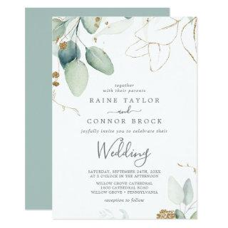 Airy Greenery and Gold Leaf Wedding Invitations