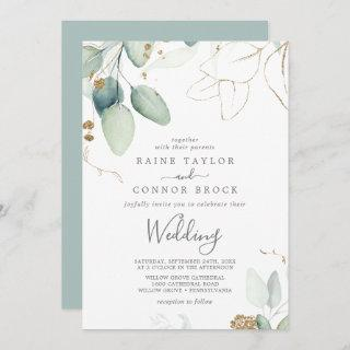 Airy Greenery and Gold Leaf Wedding Invitation