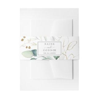 Airy Greenery and Gold Leaf Wedding Invitations Belly Band